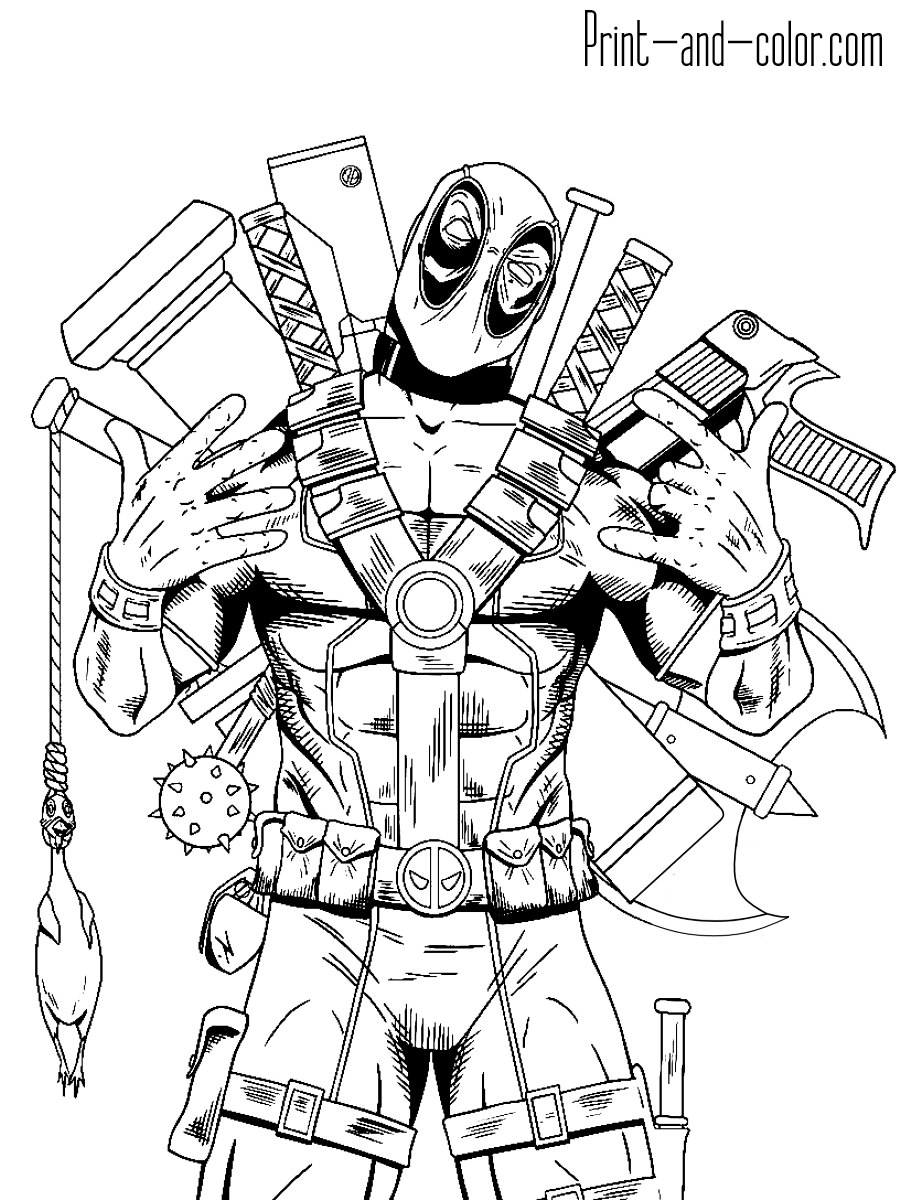 Deadpool Coloring Pages Print And Colorcom 2003 Suzuki Aerio Engine Diagram 4 Full Armed