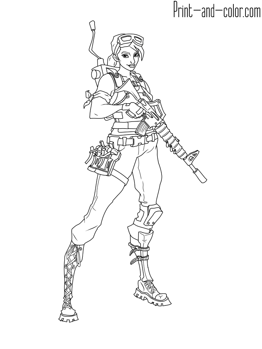 This is an image of Free Printable Fortnite Coloring Pages intended for print color