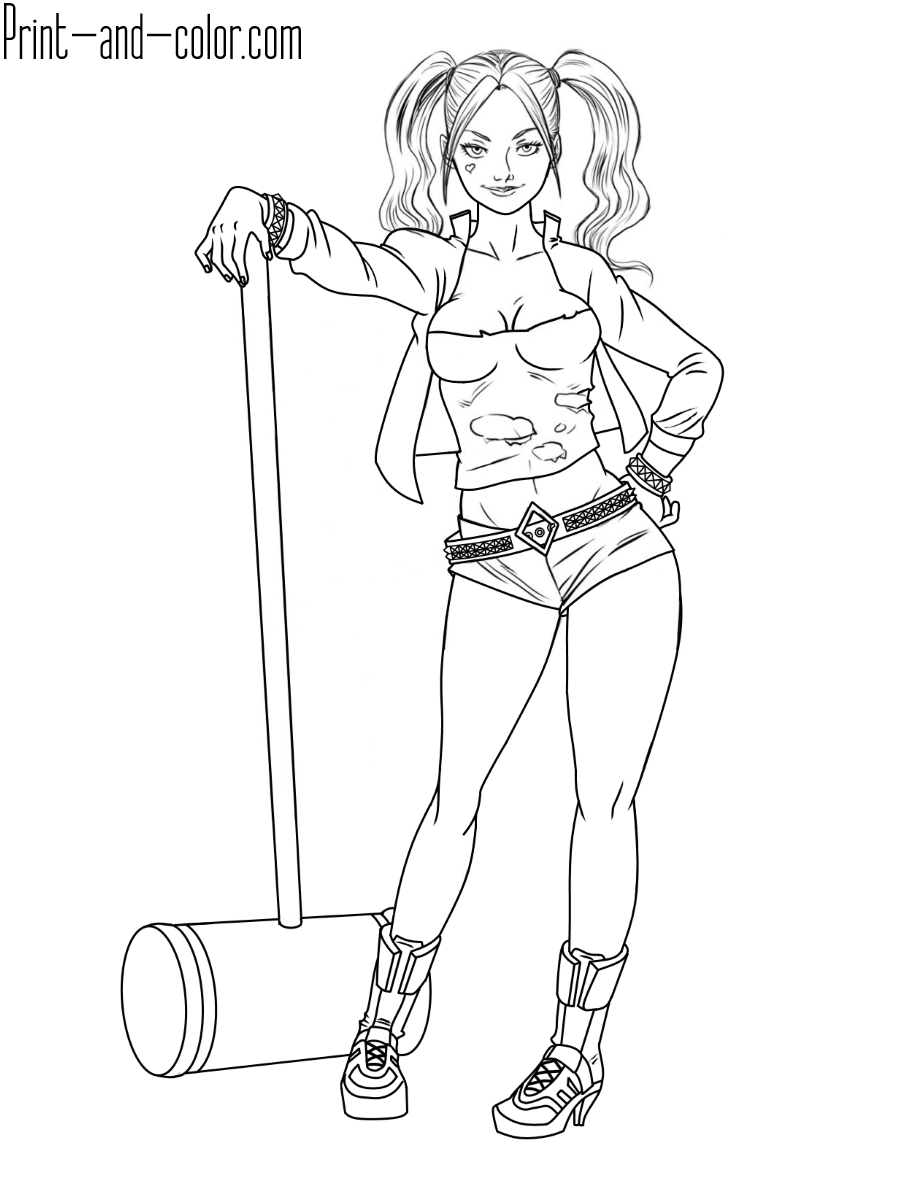 Harley Quinn coloring pages | Print and Color.com